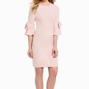 Donna Morgan Crepe Bow Sleeve Sheath Dress